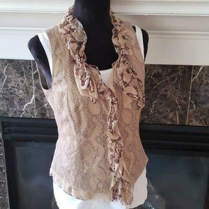 Elie Tahari Leather Snake Print Vest Silk ruffle 6